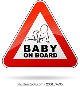 illustration of baby on board triangle sign