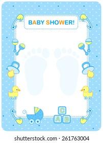 Illustration of a baby shower invitation card / border / frame for a boy