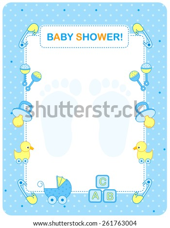 Illustration Baby Shower Invitation Card Border Stock Vector