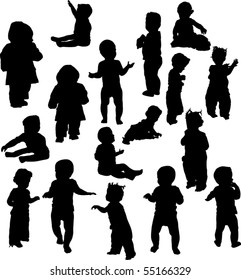 illustration with baby silhouettes collection isolated on white background