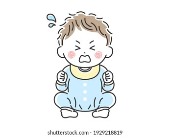 Illustration of a baby sitting and crying.