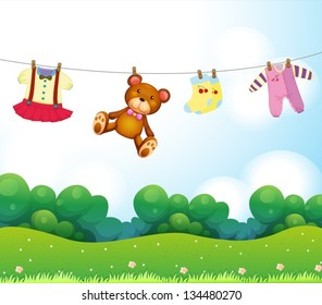 Illustration of the baby things hanging
