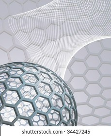 illustration background with buckyball or buckminsterfullerene and abstract mesh wave graphic