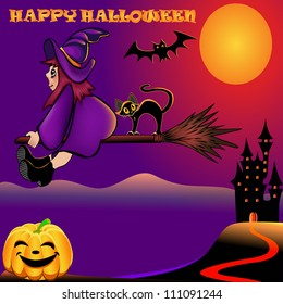 illustration background halloween with pumpkin and house