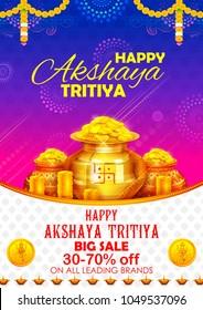 illustration of background for Happy Akshay Tritiya religious festival of India celebration