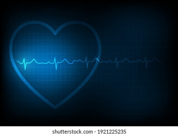 Illustration background of heart and electrocardiography or EKG on monitoring