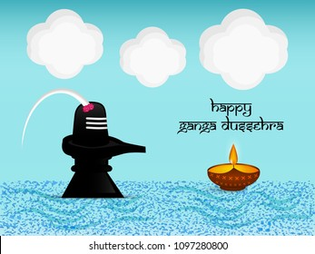 Illustration of background for the ocassion of Hindu festival Ganga Dussehra