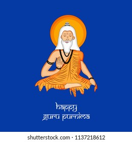 Illustration of background for the occasion of Hindu religion festival Guru Purnima celebrated in India