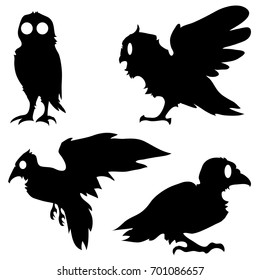 Illustration background with set of hand-drawn raven and owl silhouettes in black and white. Happy Halloween. Vector design.