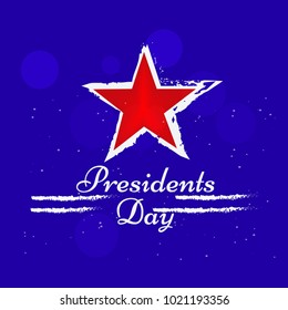 Illustration of background with star and President's Day text for USA President Day