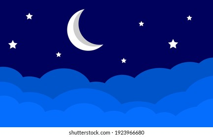 Illustration background with a view of the moon above the clouds. with a beautiful night atmosphere.