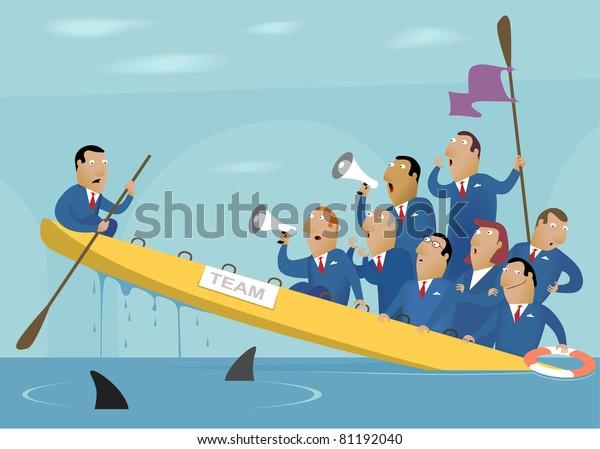 Illustration of the bad team work (Business Image #17)