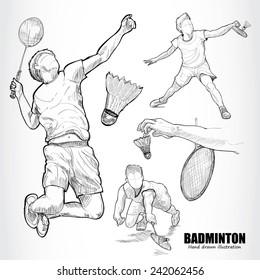 illustration of Badminton. Hand drawn.