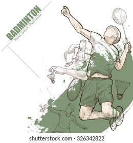Illustration of badminton. hand drawn. badminton poster. Sport background.