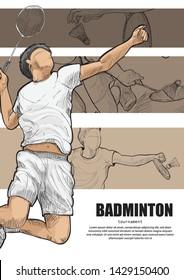 illustration of badminton player. badminton poster design. sport background.