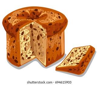 illustration of baked panettone cake with raisins