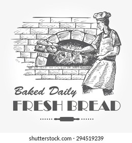 Illustration of baker baking breads in a brick oven