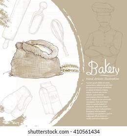 illustration of bakery. bakery background design.