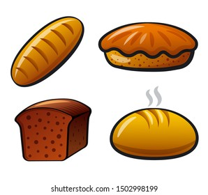 illustration of the bakery and bread color icons