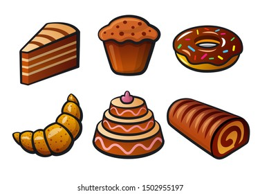 illustration of bakery and cakes color icons