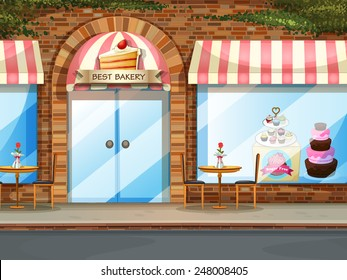 Illustration of a bakery shop with glass windows