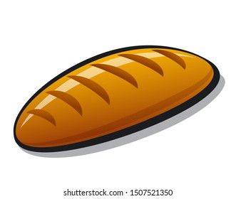 illustration of the baking bread loaf on a white background