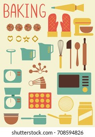 Illustration of Baking Tools and Equipment from Oven, Measuring Spoons, Cups, Mitt, Mixer, Weighing Scale to Cookie Cutters