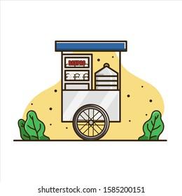 Illustration of Bakpau cart. Cart food illustration. Cart Indonesia isolated vector.