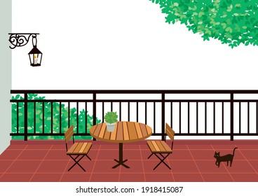 Illustration of a balcony with a table and chairs
