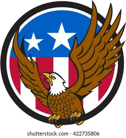 Illustration of a bald eagle looking to the side spreading its wings viewed from front set inside circle with usa american flag in the background done in retro style.
