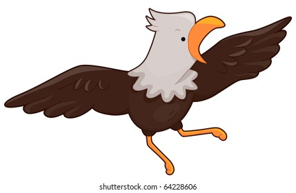 Illustration of a Bald Eagle with Wings Spread Wide