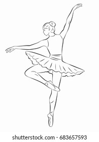 illustration of ballerina , black and white drawing, white background