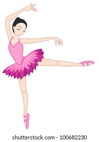 Illustration of a ballerina pose on white