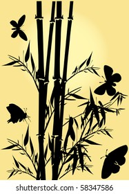 illustration with bamboo and butterflies on yellow background