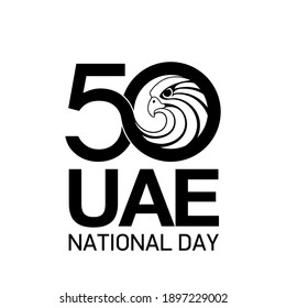 illustration banner 50 UAE national day symbol with falcon head icon. 2 December Spirit of the union United Arab Emirates National banner. 50 Anniversary Celebration Card isolated on white background