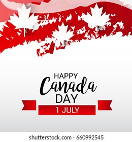 illustration of a Banner for Happy Canada day.