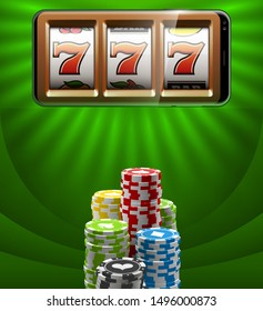 Illustration banner of mobile online casino application with 777 big win slot machine. Realistic advertising poster with online mobile app casino and Jackpot 777. Play now in One Armed Bandit banner