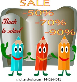 Illustration. Banner sales back to school . Modern bright stylish design is drawn in the vector.