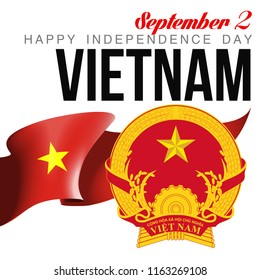 illustration banner with state flag of The Socialist Republic of Vietnam. Card with flag and coat of arms Happy The Socialist Republic of Vietnam Day 2018. picture banner september 2 of foundation day
