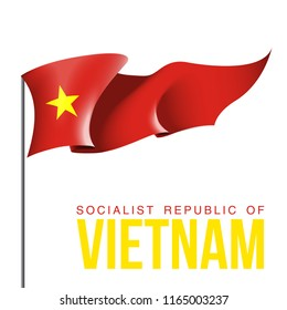 illustration banner with state flag of The Socialist Republic of Vietnam. Card with flag and coat of arms The Socialist Republic of Vietnam. picture banner september 2 of foundation day