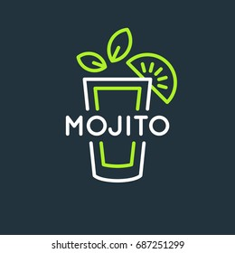 Illustration for bar menu alcoholic cocktail Mojito. Vector line drawing of a Drink on a dark background.