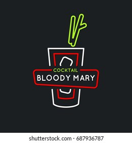 Illustration for bar menu alcoholic cocktail Bloody Mary, . Vector line drawing of a Drink on a dark background.
