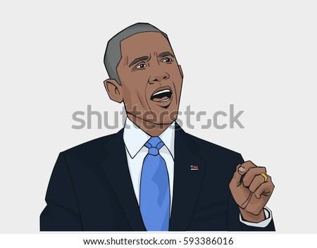 illustration barack obama holding speech color stock vector royalty