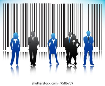 Illustration of bar-code with business people