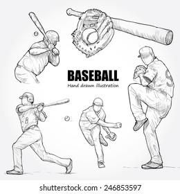 Illustration of Baseball. Hand drawn.