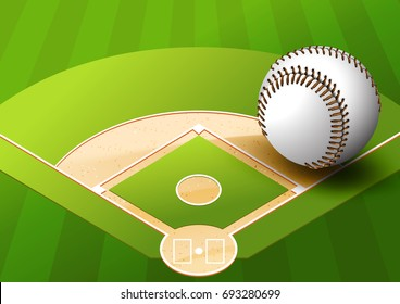 illustration Baseball on Green Space Baseball field