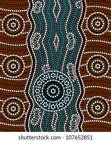 A illustration based on aboriginal style of dot painting depicting river