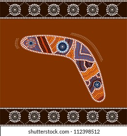 A illustration based on aboriginal style of dot painting depicting boomerang