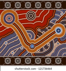 A illustration based on aboriginal style of dot painting depicting opposites