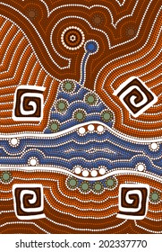 A illustration based on aboriginal style of dot painting depicting wet season
